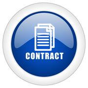 Contract icon, circle blue glossy internet button, web and mobile app illustr Stock Illustration
