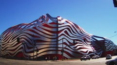 Wide Exterior View Of Petersen Automotive Museum- Culver City CA Stock Footage