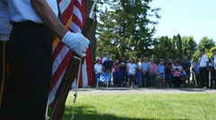 Honor guard soldier stands at attention on Memorial Day Stock Footage