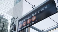 Bryant Park Subway entrance establishing shot Stock Footage