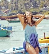 Cute smiling young real woman in asian port, vietnam traveller Stock Photos