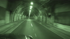 Viewpoint Driving In Tunnel At Night- Green Tint Stock Footage
