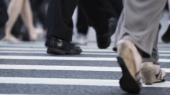 New York City Crosswalk closeup during rush hour Stock Footage