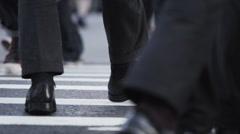 New York City Crosswalk closeup during rush hour Stock Footage