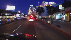 POV Driving In Sunset Plaza On Sunset Boulevard At Night Stock Footage