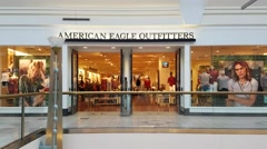 4K American Eagle Outfitters storefront, mall Stock Footage