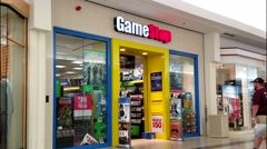 4K GameStop video games retailer, shopping mall - stock footage