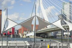 View to Rotterdam city harbour, future architecture concept, bright landscape Stock Photos