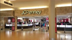 4K JC Penney storefront shopping mall Stock Footage