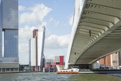 View to Rotterdam city harbour, future architecture concept, bright landscape Stock Photos