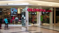 4K Olympia Sports storefront, shopping mall Stock Footage