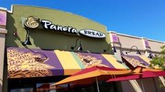 4K Panera Bread restaurant, front canvas signage Stock Footage