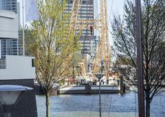 View to Rotterdam city harbour, future architecture concept, bright landscape Kuvituskuvat