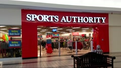 4K Sports Authority storefront, shopping center Stock Footage