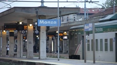 Monza, Italy. Train Station. Train Arriving Stock Footage