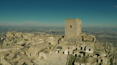 Desertic land in Italy. Craco. Aerial drone video.  N. Stock Footage