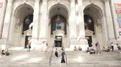 New York Public Library establishing shot Stock Footage