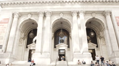 New York Public Library establishing shot Stock Footage
