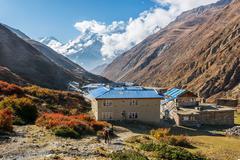 High altitude village of Yak Kharka. Stock Photos