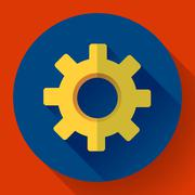 Cogwheel Icon. Develop symbol. Flat design style - stock illustration