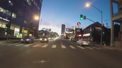 Traffic On Sunset Boulevard At Dusk- Hollywood CA Stock Footage