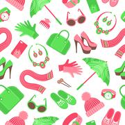 Seamless pattern with women's accessories. Stock Illustration