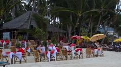 Beach Restaurant at Lamai Beach, Koh Samui, Thailand, Asia Stock Footage