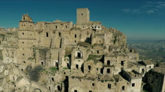 Desertic land in Italy. Craco. Aerial video. The camera approaches. N. Stock Footage