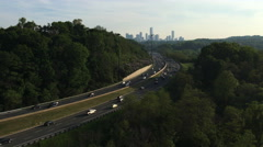 4K UltraHD Commuter traffic on the Don Valley Parkway into Toronto Stock Footage