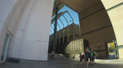 Family Exiting Los Angeles County Museum Of Art Stock Footage