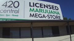 Licensed Medical Marijuana Mega Store 420 Billboard - Santa Ana CA - stock footage