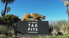 La Brea Tar Pits Museum Sign Zoom- Los Angeles California Stock Footage