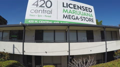 Medical Marijuana Store Billboard Advertisement - Santa Ana CA Stock Footage