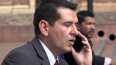 Upset Business Man Hears Bad News On Phone Call Stock Footage