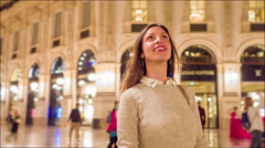 Beautiful Young Woman Exploring Europe Tourism Shopping Happiness Vacation Stock Footage
