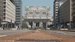 Milan central station front view from broad avenue, ground level Stock Footage