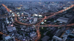 4kTime-lapse : Bangkok Expressway Highway bird eye view at dusk, Thailand Stock Footage