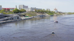 Water transport different types of floats on the river against the background of Stock Footage