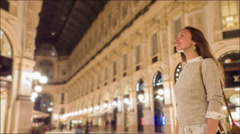 Attractive Young Female Model Exploring Milan Traveling Enjoyment Relaxation Stock Footage