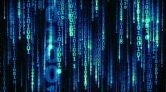 Cyberspace with digital falling lines, binary hanging chain - seamless loop Stock Footage