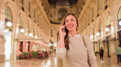 Young Woman Traveler Talking On Phone In Italy Traveling Vacation In Europe Stock Footage