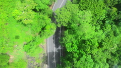 Aerial view of a road in a forest - stock footage