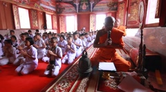 Visaka Bucha day . student Listen to sermon in Buddhist temple Stock Footage