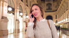 Beautiful Young Woman Talking On The Phone Traveling On Vacation In Europe Happy Stock Footage