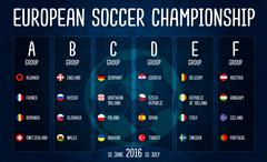 European soccer championship 2016 group stages vector design on blackboard. Stock Illustration