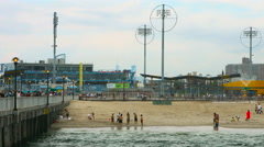 Coney Island Board Walk Mid Shot in New York on a cloudy summer day Stock Footage
