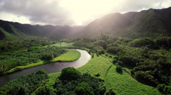Amazing Lighting Aerial Flight Hawaii Tropical Rainforest Arkistovideo