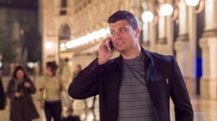 Casual Young Businessman Using His Phone While Traveling In Europe 4G Wi-Fi - stock footage