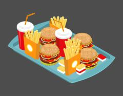 Fast food big set. Many meal on tray. Frying potatoes. Big hamburger. Fresh b Piirros