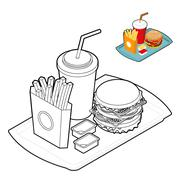 Fast food coloring book. Food in linear style. Big fresh hamburger. Delicious - stock illustration